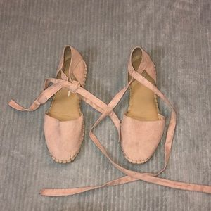 Blush pink lace- up espadrilles